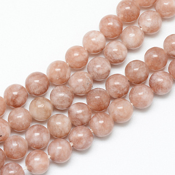 Natural Sunstone Bead Strands, Round, 8~9mm, Hole: 1mm; about 46pcs/strand, 15.3inches(X-G-R345-8mm-31)