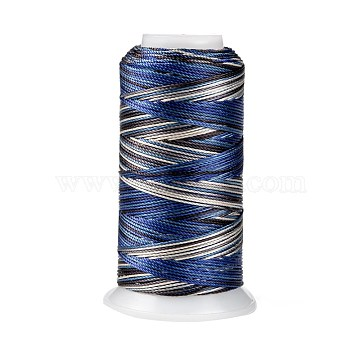 Segment Dyed Round Polyester Sewing Thread, for Hand & Machine Sewing, Tassel Embroidery, Dark Blue, 12-Ply, 0.8mm, about 300m/roll(OCOR-Z001-B-01)