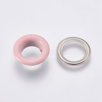 Iron Grommet Eyelet Findings, for Bag Making, Flat Round, Platinum, Pink, 16.3x5mm, Inner Diameter: 10mm(IFIN-WH0023-D05)