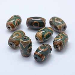 Perles de style tibétain, Perles d'agate naturelles, teints et chauffée, ovale, darkolivegreen, 20~22x14~15mm, Trou: 2.5~3mm(TDZI-G009-B30)