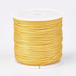 Nylon Thread, Nylon Jewelry Cord for Custom Woven Jewelry Making, Gold, 0.8mm; about 45m/roll(NWIR-K022-0.8mm-19)