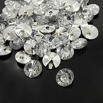 Acrylic Rhinestone Buttons, 1-Hole, Faceted & Silver Plated Pointed Back, Flat Round, Clear, 28x11mm, Hole: 2mm(X-BUTT-A016-44L-01)