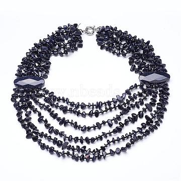 Synthetic Blue Goldstone Multi-strand Necklaces, with Brass Spring Ring Clasps, 19.2inches~20.8inches(NJEW-G910-15)