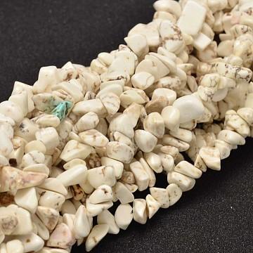 puce howlite naturelle brins de perles, 8x5 mm, trou: 1 mm; sur 33.85(X-G-L454-07)