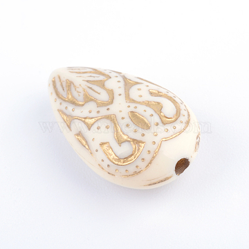 Teardrop Plating Acrylic Beads, Golden Metal Enlaced, Beige, 18x11.5x7.5mm, Hole: 1.5mm(X-PACR-Q102-151A)