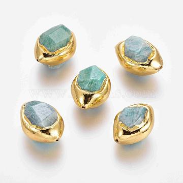 Natural Amazonite Beads, with Golden Plated Edge Brass Findings, Faceted, Olive, 25~34x17~23x16~21mm, Hole: 1~1.4mm(X-G-F633-27D)