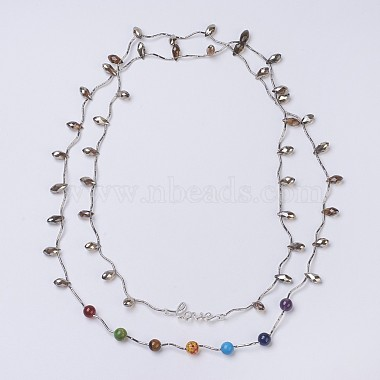 Chakra Natural & Synthetic Mixed Stone Tiered Necklaces(NJEW-JN02125)-2
