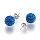 Sterling Silver Austrian Crystal Rhinestone Ball Stud Earrings for Girl(Q286H131)-3
