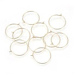 925 обруч из серебра из серебра, кольцо, золотые, 23x20x2 мм, штифты : 0.6 мм(STER-P045-05G)
