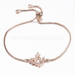 """Bracelets réglables en laiton avec zircone cubique à micro-pavé, bracelets bolo, allah, or rose, 10-1/4"""" (260 mm); 1.2mm(BJEW-E317-35RG)"""