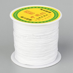 Braided Nylon Thread, Chinese Knotting Cord Beading Cord for Beading Jewelry Making, White, 0.5mm; about 150yards/roll(NWIR-R006-0.5mm-800)