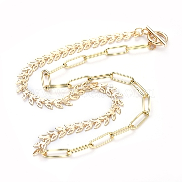 Brass Paperclip Chain/Cobs Chain Necklaces, with 304 Stainless Steel Toggle Clasps, Leaf, Golden, 17 inches(43.3cm)(NJEW-JN02781-02)