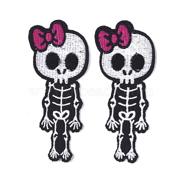 Computerized Embroidery Cloth Iron On Patches, Costume Accessories, Appliques, Skeleton, Black, 103x43x1mm(X-FIND-T030-189)