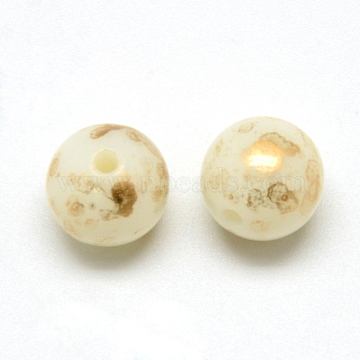 Spray Painted Acrylic Beads, Round, LightYellow, 10mm, Hole: 2mm(X-MACR-Q169-64)