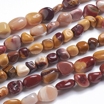 Natural Mookaite Beads Strands, Tumbled Stone, Nuggets, 9~11x8~9x5~10mm, Hole: 0.8mm, about 45pcs/strand, 15.75 inches(40cm)(G-G841-A10)