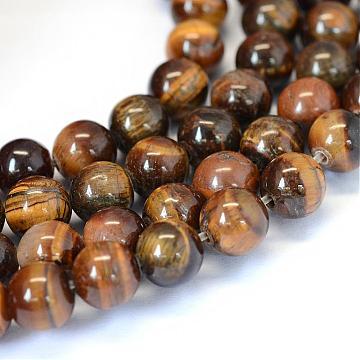 """Grade ab naturel oeil de tigre ronds perles brins, 8~8.5mm, trou: 1mm; environ 47 pcs/chapelet, 15.5""""(G-E334-8mm-17)"""