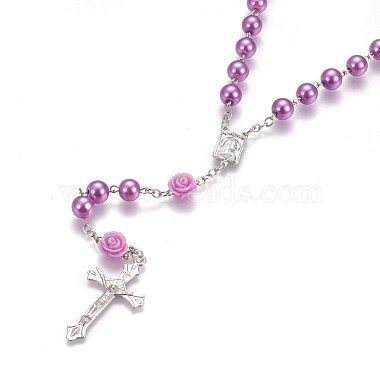 Glass Imitation Pearl Rosary Bead Necklace for Easter(NJEW-WH0005-06)-2