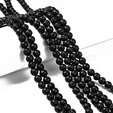 Natural Lava Rock Round Bead Strands(X-G-M169-6mm-03)-4