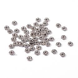 fleur de perles d'entretoise de style tibétain, accessoires en métal pour bricolage, sans plomb libre et nickel et cadmium libre, sur 5.5 mm de diamètre, 2 mm d'épaisseur, trou: 1 mm(X-LF0280Y-NF)