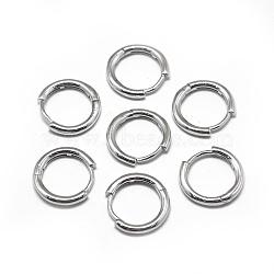 925 boucles d'oreilles créoles en argent sterling, platine, 14x2 mm; broches: 0.8 mm(STER-L057-077B)