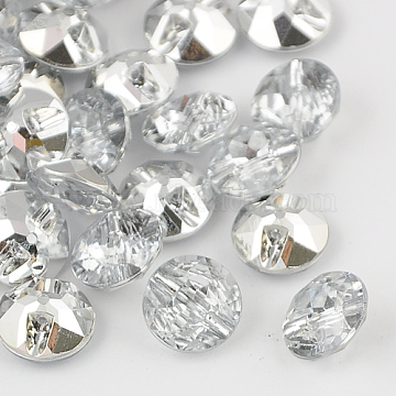 Taiwan Acrylic Rhinestone Buttons, Faceted, 1-Hole, Flat Round, White, 11.5x6mm, Hole: 1mm(BUTT-F020-11.5mm-02)