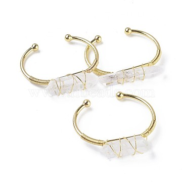 Brass Cuff Bangles, with Natural Quartz Crystal, Nuggets, Golden, 1-3/8 inchesx2-1/8 inches~2-1/4 inches(3.8x5.4~5.6cm), 3~4mm(X-BJEW-F386-02G)