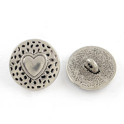 Tibetan Style Alloy Shank Buttons, Cadmium Free & Nickel Free & Lead Free, Flat Round with Heart, Antique Silver, 18x7mm, Hole: 2mm