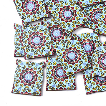 Printed Basswood Cabochons, Colorful, 36.5x30x3mm(X-WOOD-S045-074A)