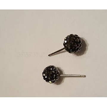 Sexy Valentines Day Gifts for Her Sterling Silver Austrian Crystal Rhinestone Ball Stud Earrings, 280_Jet, 15x6mm, Pin: 0.8mm(Q286J261)