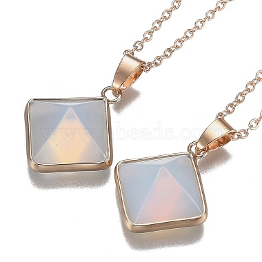 Opalite Pyramid Geometric Pendant Necklaces(NJEW-H204-01E)-1
