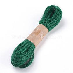 Corde de chanvre, chaîne de chanvre, ficelle de chanvre, pour la fabrication de bijoux, 3 pli, verte, 2 mm; 10 cour / bundle, 30 pieds / paquet(OCOR-P009-A06)