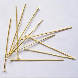 Épingles de tête en fer, dorée, Taille: environ 4.0 cm de long, épaisseur de 0.7mm, tête: 2 mm(X-HPG4.0cm)