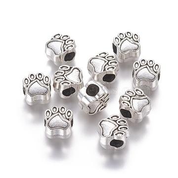 Tibetan Style European Beads, Cadmium Free & Lead Free, Paw Print, Antique Silver, 11x11x8mm, Hole: 5mm(X-MPDL-6160-AS-RS)