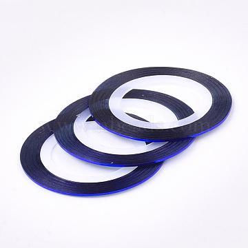 autocollants à ongles auto-adhésifs ultra-fins, pour la conception d'art d'ongle, bleu, 0.8~1 mm, 20 m / rouleau(MRMJ-K006-03-21)