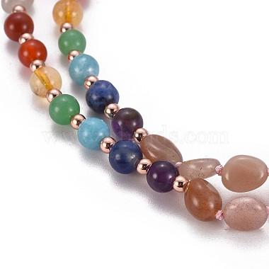 Natural Sunstone Bead Pendant Necklaces(NJEW-K116-A03)-4