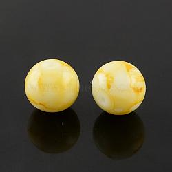 """Chapelets de perles en verre peint par pulvérisation, rond, teint, jaune, 6mm, trou: 1.3~1.6mm; environ 133 pcs/chapelet, 31.4""""(X-GLAA-R139-6mm-17)"""