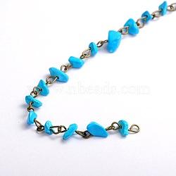 """Main synthétiques copeaux de howlite perles chaînes pour neckalces bracelets faisant, avec épingle à oeil en fer bronze antique, non soudée, 39.3""""; perles: 5~9 mm(X-AJEW-JB00044-07)"""