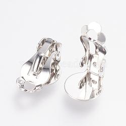 Accessoires de boucles d'oreilles à clipser en laiton, platine, 16x10x7mm, Trou: 2x3mm(KK-E717-02P)