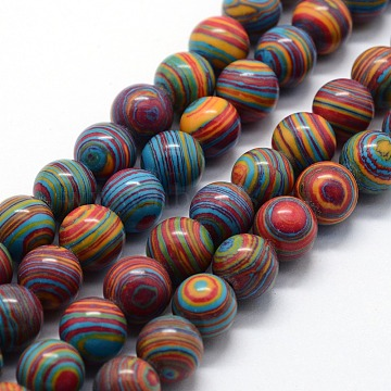 Synthetic Malachite Beads Strands, Dyed, Round, Colorful, 8mm, Hole: 1mm, about 46pcs/strand,  14.76 inches(37.5cm)(X-G-I199-32-8mm-D)