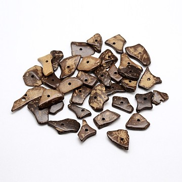 Dyed Chip Coconut Beads, Camel, 14~31x8~13x2~4mm, Hole: 1.5~2mm; about 882pcs/500g(X-COCO-N001-23A)