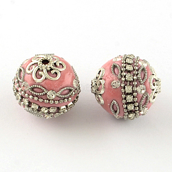Handmade Indonesia Round Beads, with Rhinestones Chains, Brass Chains and Antique Silver Alloy Findings, Pink, 20~21x19~21mm, Hole: 2mm(X-IPDL-R033-38B)