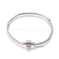Laiton bracelets de style européen avec fermoir en laiton sans signe, couleur platine, environ 20 cm de long, épaisseur de 3mm, 2 trou mm(X-PPJ005Y-P)