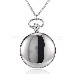 """Rondes alliage quartz montres de poche plats, avec des chaînes de fer et claspss pince de homard, platine, 31.4""""; cadran montre: 64x47x15 mm; boitier montre: 37 mm(WACH-N039-04P-A)"""