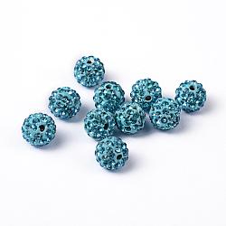 Pave disco бусины, Бусины со стразами, полимерная глина , круглые, аквамарин, 10 мм, отверстие : 2 мм(X-RB-S605-9)