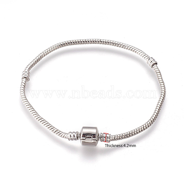 Brass European Style Bracelets with Brass Clasp without Sign, Platinum Color, about 20cm long, 3mm thick, 2mm hole(X-PPJ005Y-P)