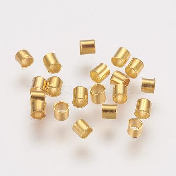 Brass Crimp Beads, Tube, Golden, 2x2x0.15mm, Hole: 1.5mm, about 1000pcs/10g(X-KK-L021-G)