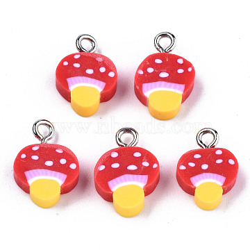 Handmade Polymer Clay Charms, with Platinum Tone Iron Findings, Mushroom, Red, 14~15x10x4mm, Hole: 1.8mm(X-CLAY-T016-50)