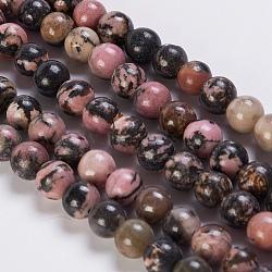 """Chapelets de perles en rhodonite naturelle, rond, 8mm, trou: 1mm; environ 49 pcs/chapelet, 15.3""""(G-K254-04-8mm)"""