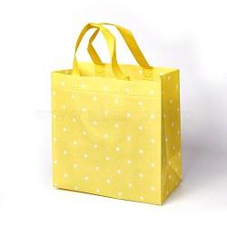экологически чистые многоразовые сумки, нетканые сумки для покупок, желтый, 24.5x12.5x25 cm(ABAG-L004-F02)