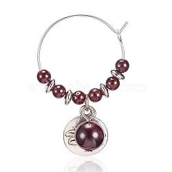 Natural Garnet Wine Glass Charms, with Alloy Lotus Pendants and Brass Hoops, 46x27mm(AJEW-JO00154-04)